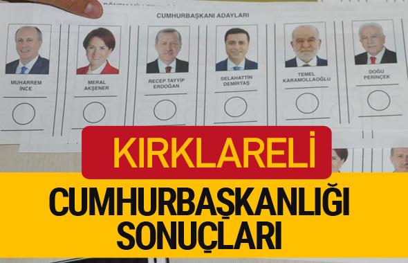Kırklareli Cumhurbaşkanlığı seçim sonucu 2018 Kırklareli sonuçları