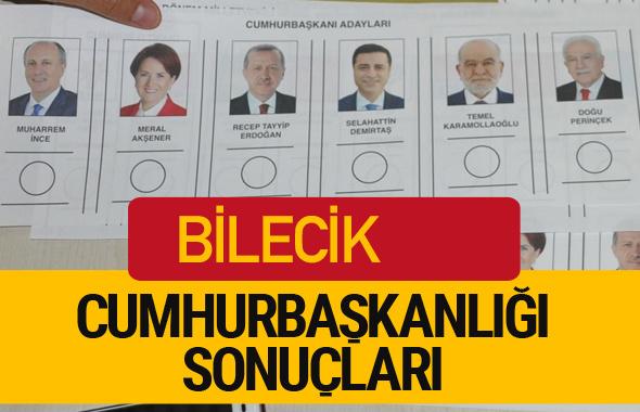 Bilecik Cumhurbaşkanlığı seçim sonucu 2018 Bilecik sonuçları