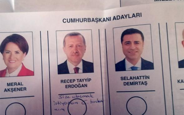 Erdoğan'ın oy pusulasına yazan kadının ne istediği ortaya çıktı