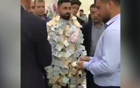 Damadı paraya boğdular! Sosyal medya bu görüntüyü konuşuyor