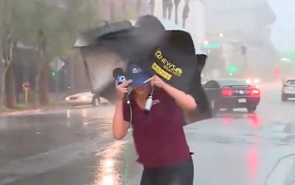 Muhabir yağmurlu havada perişan oldu!