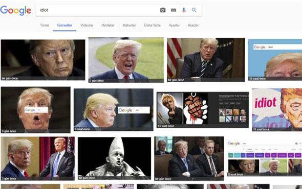 Google Görseller'e Idiot (Aptal) yazınca Trump çıkıyor!