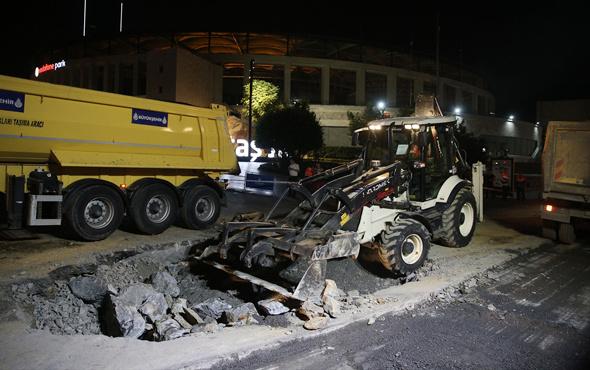 Beşiktaş'ta çöken yol onarıldı