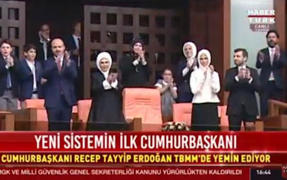 Erdoğan yemin töreni! Ailesi böyle izledi