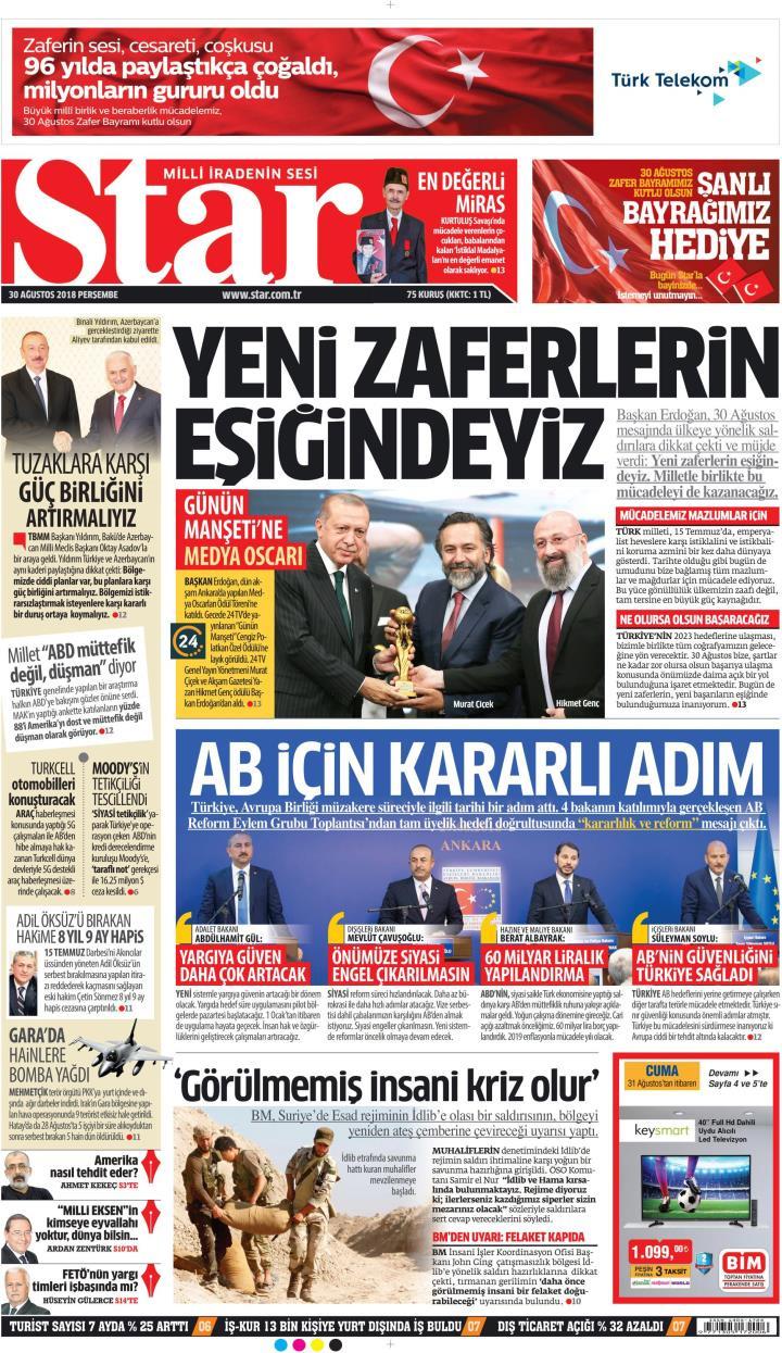 Gazete manşetleri 30 Ağustos 2018 Sözcü - Hürriyet - Posta - Sabah - Sayfa 2
