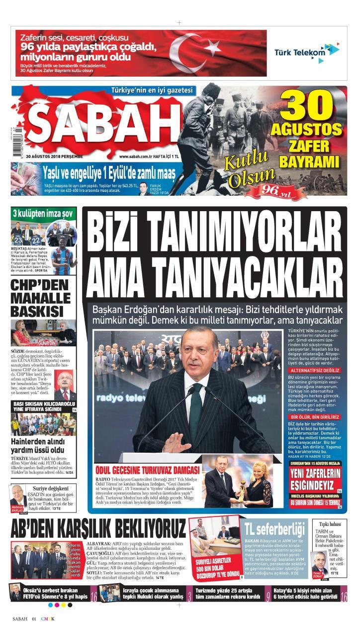 Gazete manşetleri 30 Ağustos 2018 Sözcü - Hürriyet - Posta - Sabah - Sayfa 3