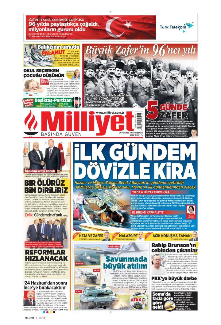 Gazete manşetleri 30 Ağustos 2018 Sözcü - Hürriyet - Posta - Sabah - Sayfa 4