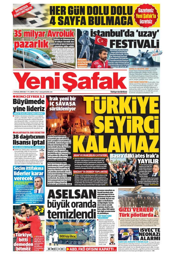 Gazete manşetleri 11 Eylül 2018 Hürriyet - Milliyet - Sözcü - Posta - Sayfa 1