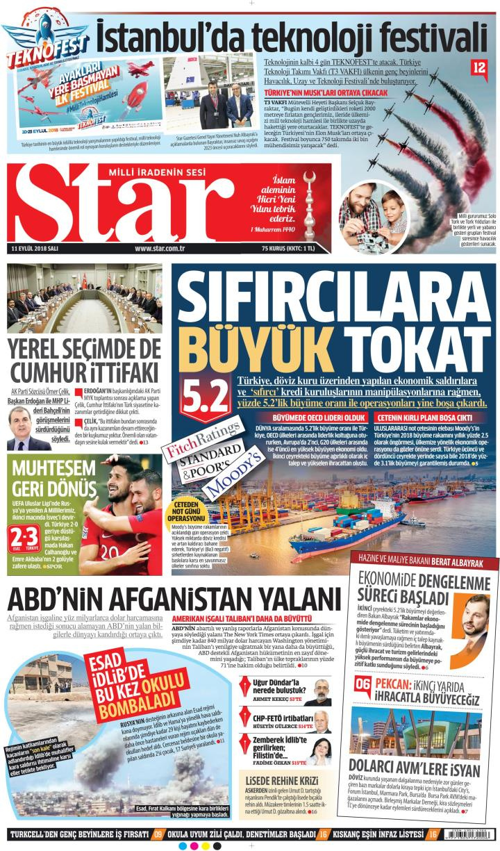 Gazete manşetleri 11 Eylül 2018 Hürriyet - Milliyet - Sözcü - Posta - Sayfa 2