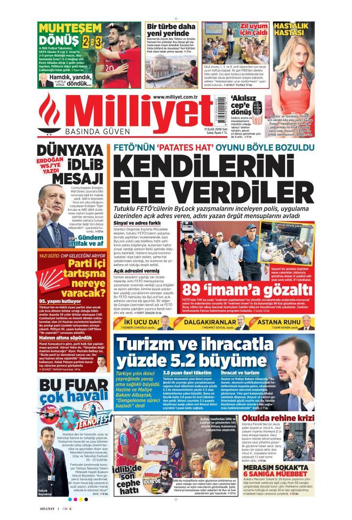 Gazete manşetleri 11 Eylül 2018 Hürriyet - Milliyet - Sözcü - Posta - Sayfa 4