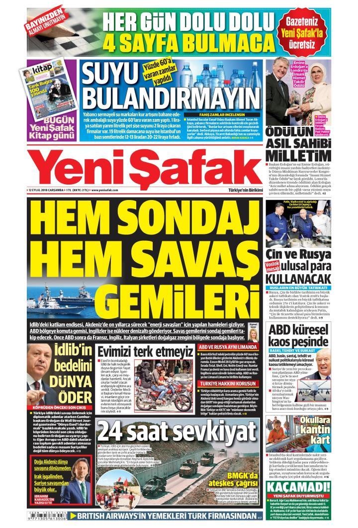 Gazete manşetleri 12 Eylül 2018 Hürriyet - Milliyet - Sözcü - Posta - Sayfa 1