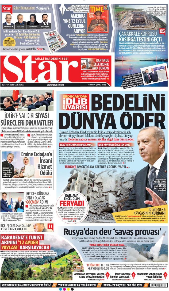 Gazete manşetleri 12 Eylül 2018 Hürriyet - Milliyet - Sözcü - Posta - Sayfa 2