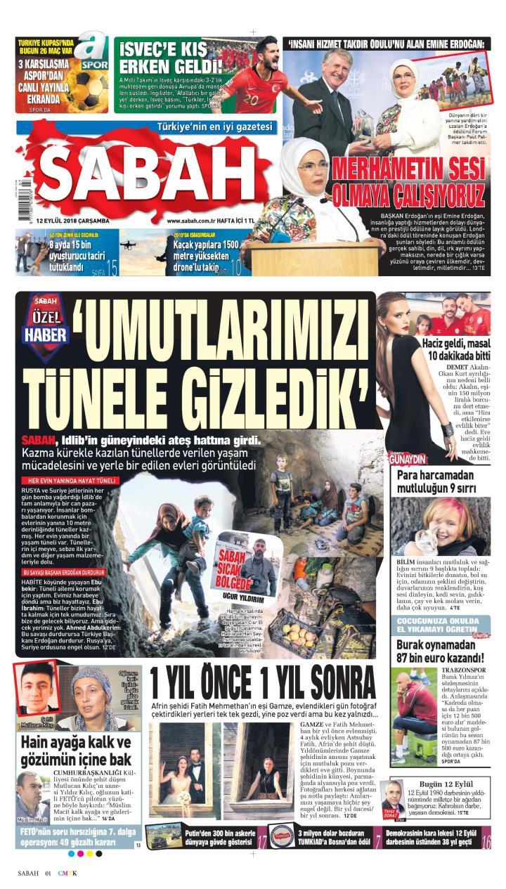 Gazete manşetleri 12 Eylül 2018 Hürriyet - Milliyet - Sözcü - Posta - Sayfa 3