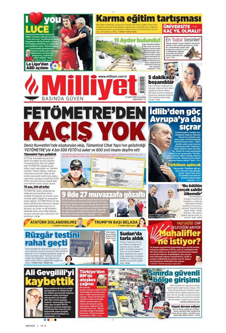Gazete manşetleri 12 Eylül 2018 Hürriyet - Milliyet - Sözcü - Posta - Sayfa 4