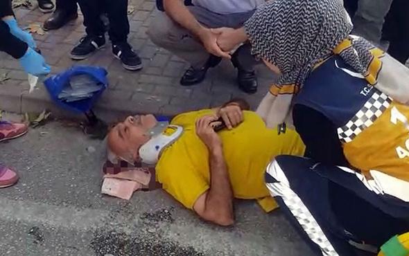 Tersten gelen motosiklet yaşlı adama çarptı!
