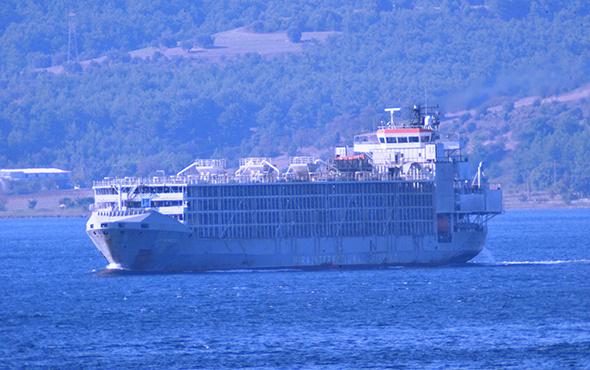 Şarbon iddiasına sebep olan gemi Çanakkale'den geçti!