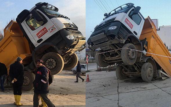 Görenler inanamadı! Tonlarca ağırlıktaki kamyon...