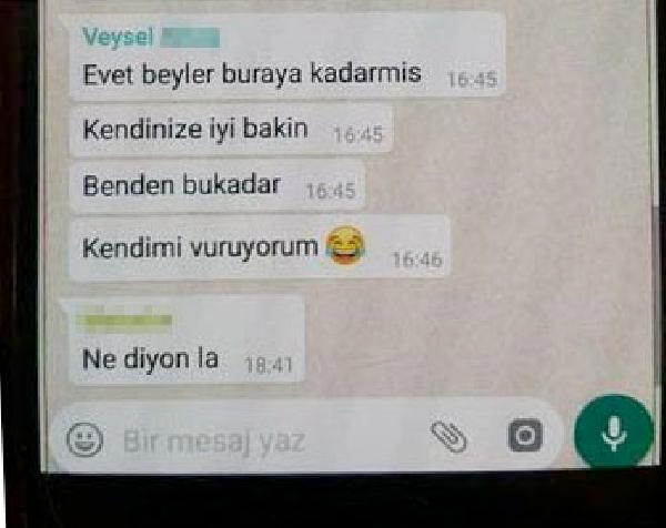 WhatsApp'tan 'Kendimi vuruyorum' yazıp intihar etti
