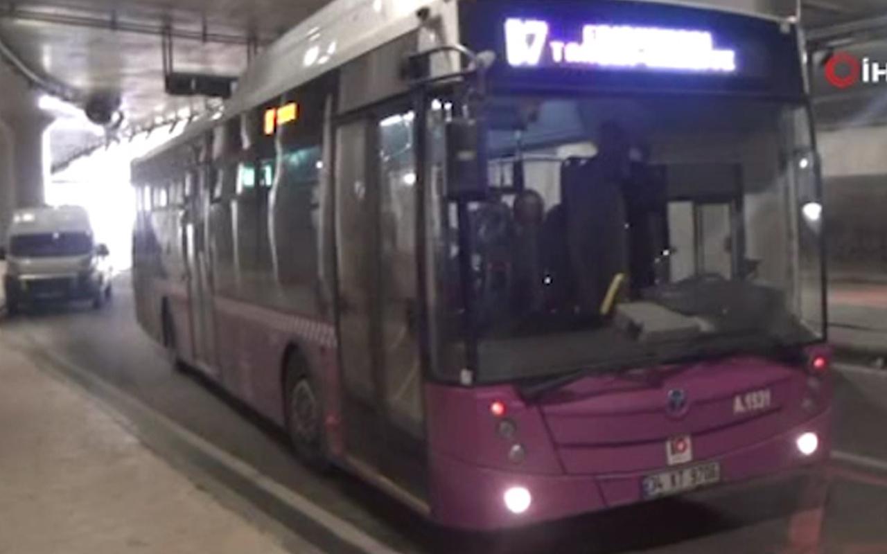 Taksim'de halk otobüsünde hırsız alarmı