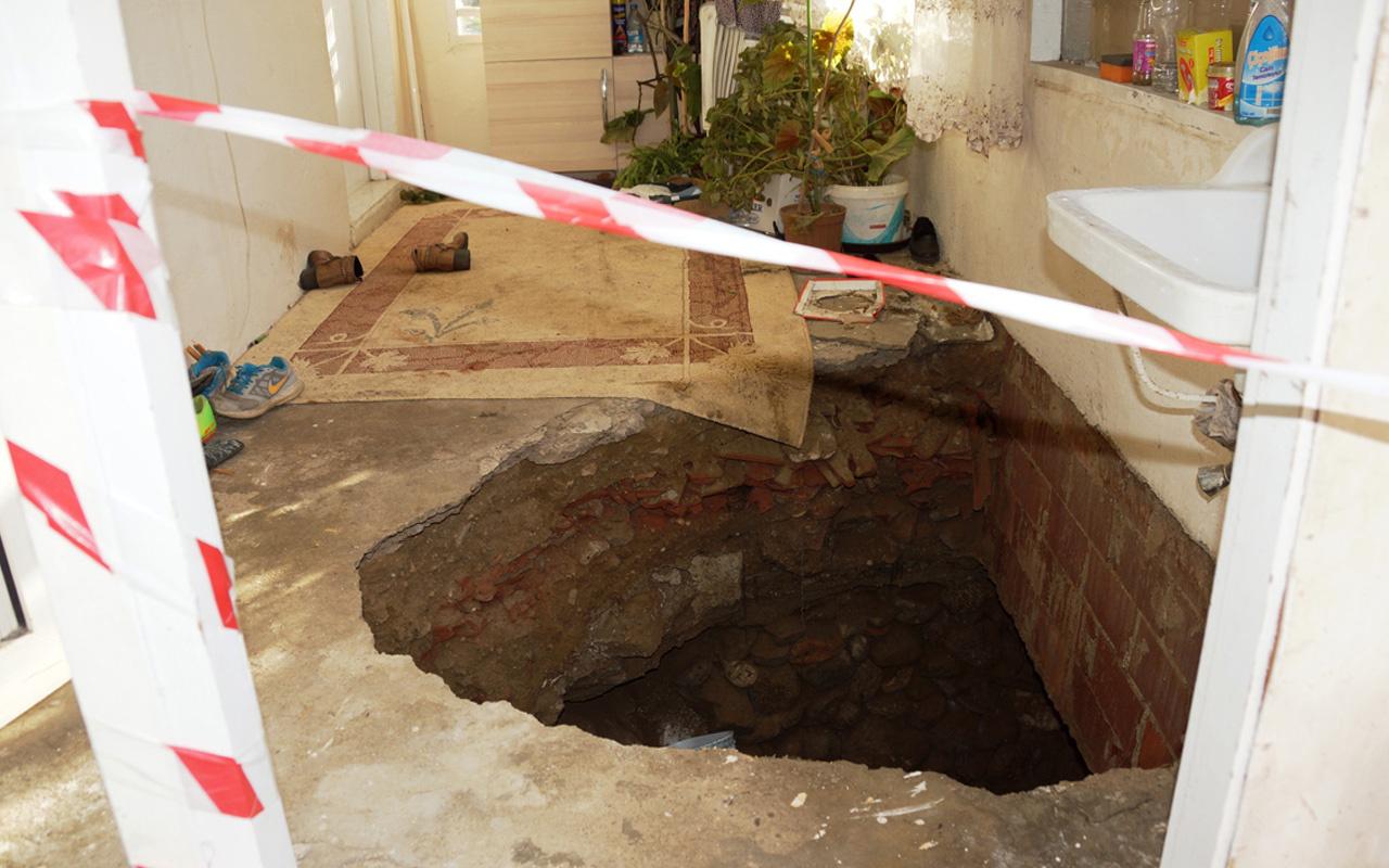 Aydın'da ilginç olay evin içi çöktü anne kız düştü
