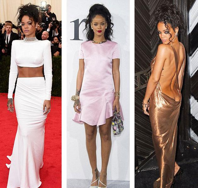 Rihanna dior defilesindeki elbisesi ile şaşırttı