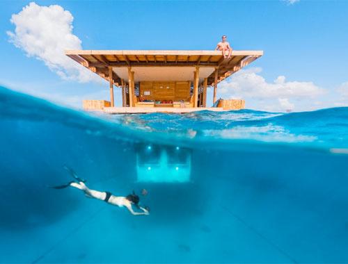 Bu evin yatak odası denizin içinde böylesi yok