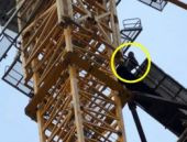 İşçilerden 236 metre yukarda eylem!