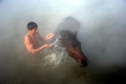 Kaplıcada atlarıyla yıkanıyorlar