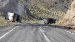 PKK'nın iki kez saldırdığı yol ulaşıma kapatıldı