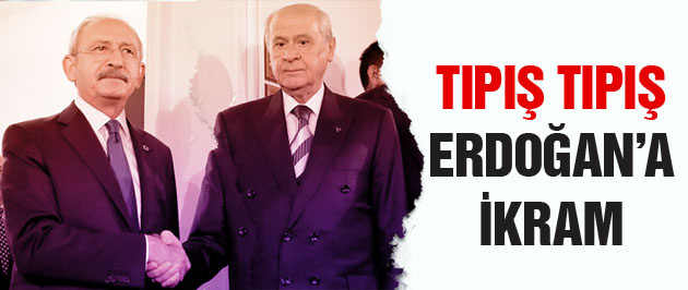 MHP ve CHP t�p�� t�p�� Kö�k'� Erdo�an'a verdi