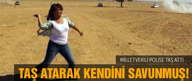 HDP'li Aysel Tuğluk polise taş attı