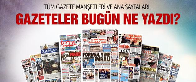 Gazete manşetleri 20 Ekim 2014