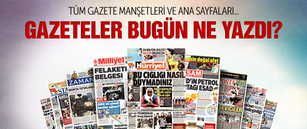 Gazete manşetleri 31 Ekim 2014