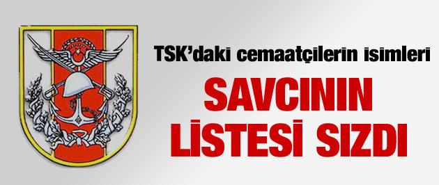 TSK'daki Cemaatçiler! Savcı listesi sızdı