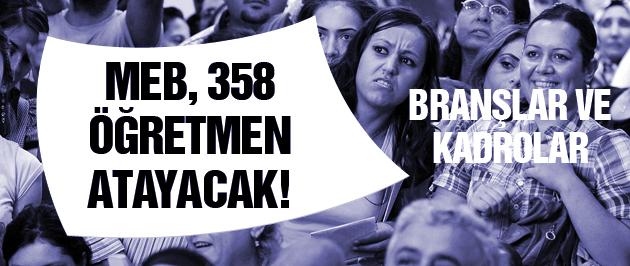 MEB, 358 öğretmen atayacak! İşte branşlar