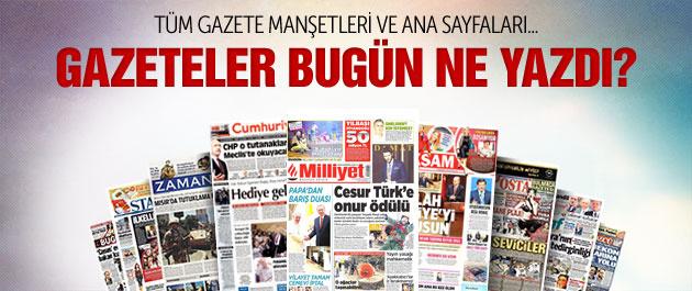 Gazete manşetleri 29 Kasım 2014