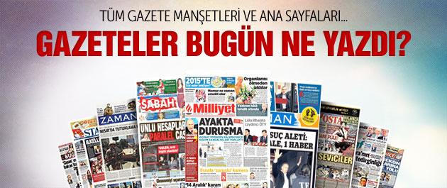 Gazete manşetleri 19 Aralık 2014