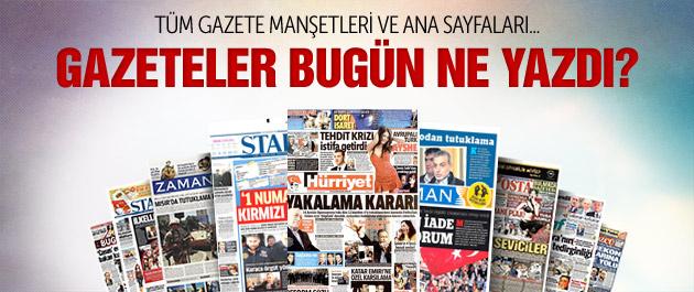 Gazete manşetleri 20 Aralık 2014