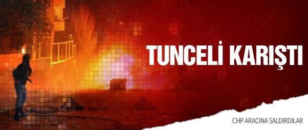 Tunceli karıştı CHP aracına saldırı