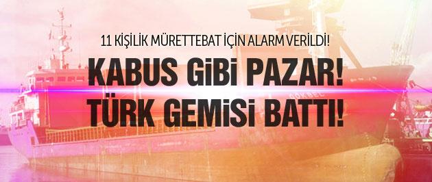 Kaza yapan Türk gemisi battı!