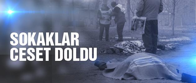 Füzeyle katliam sokaklar ceset doldu