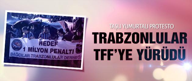 Trabzon'dan TFF'ye taşlı yumurtalı protesto!