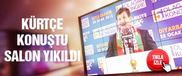 Davutoğlu Kürtçe konuştu salon yıkıldı