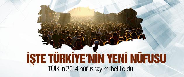 İşte Türkiye'in 2014 yılı nüfusu!