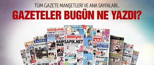 Gazete manşetleri 31 Ocak 2015