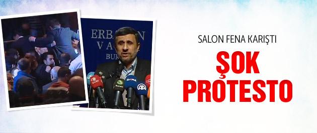 Ahmedinejad'a salonda şok protesto