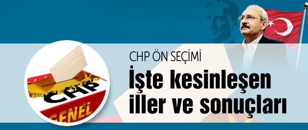 CHP il il kesinleşen ön seçim sonuçları