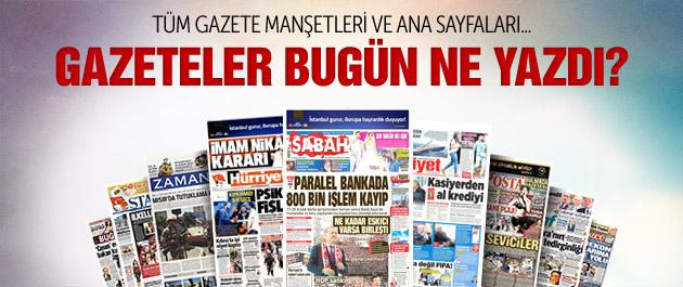 Gazete manşetleri 29 Mayıs 2015