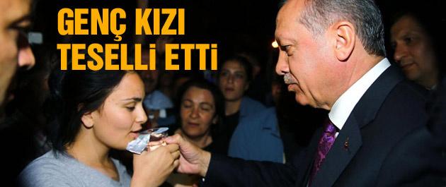 Erdoğan o genç kızı böyle teselli etti