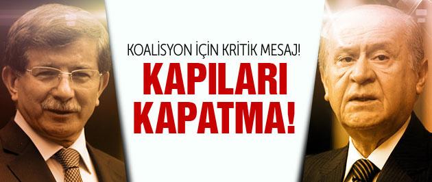 Davutoğlu'ndan MHP'ye koalisyon mesajı!